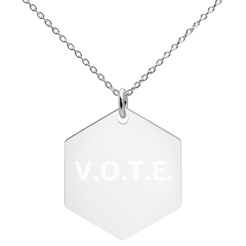 V.O.T.E. Engraved Silver Hexagon Necklace - spa-noir