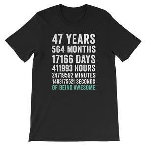 Birthday Gift T Shirt 47 Years Old Being Awesome