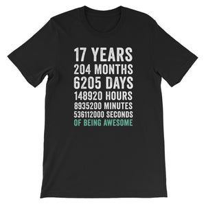 Birthday Gift T Shirt 17 Years Old Being Awesome