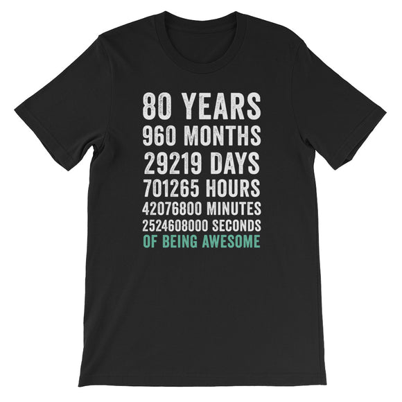 Birthday Gift T Shirt 80 Years Old Being Awesome