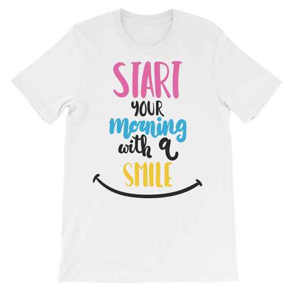 Start your morning with a smile Unisex short sleeve t-shirt