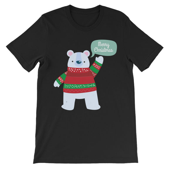 Merry Christmas Winter Bear Unisex short sleeve t-shirt