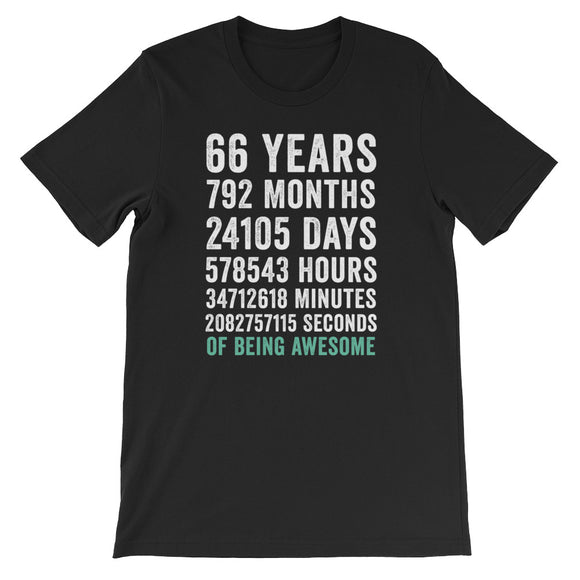 Birthday Gift T Shirt 66 Years Old Being Awesome