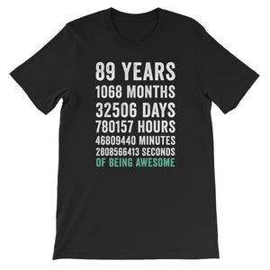 Birthday Gift T Shirt 89 Years Old Being Awesome