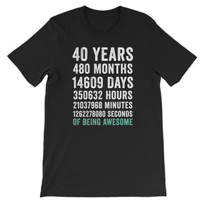Birthday Gift T Shirt 40 Years Old Being Awesome