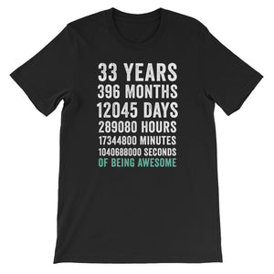Birthday Gift T Shirt 33 Years Old Being Awesome