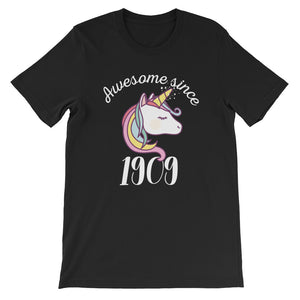 Awesome Since 1909 Funny Unicorn Birthday