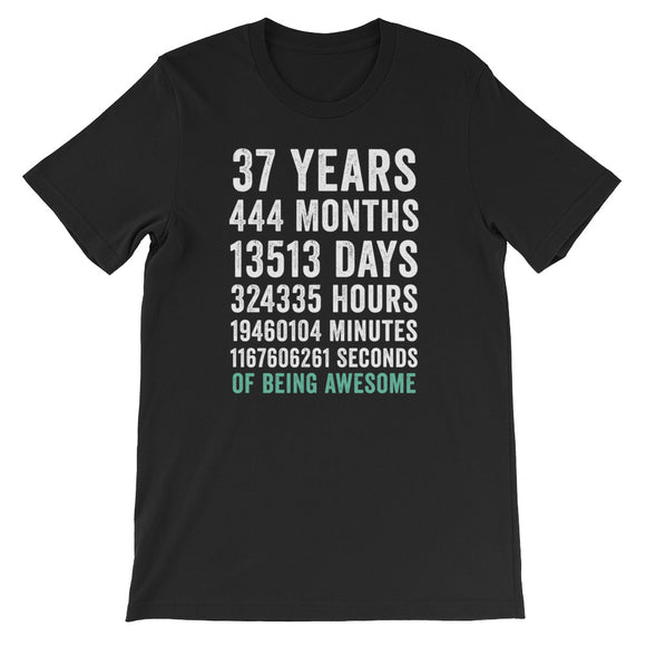 Birthday Gift T Shirt 37 Years Old Being Awesome
