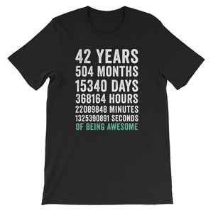 Birthday Gift T Shirt 42 Years Old Being Awesome