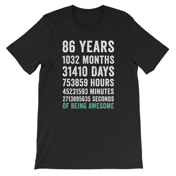 Birthday Gift T Shirt 86 Years Old Being Awesome