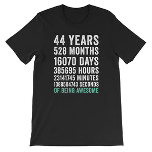 Birthday Gift T Shirt 44 Years Old Being Awesome