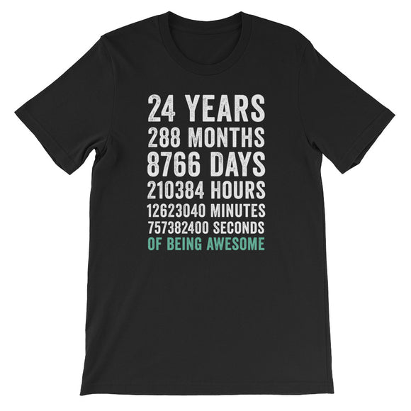 Birthday Gift T Shirt 24 Years Old Being Awesome