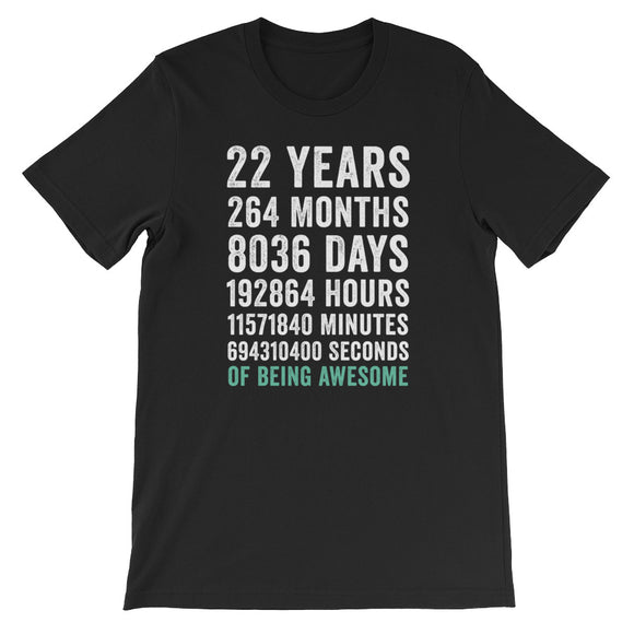 Birthday Gift T Shirt 22 Years Old Being Awesome