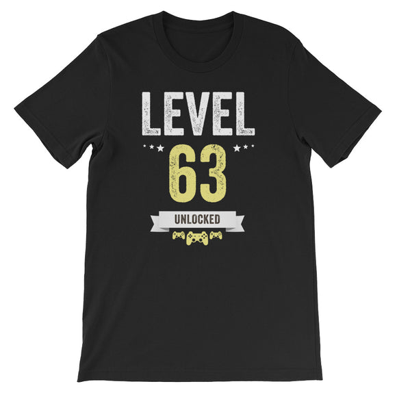 Funny Vintage Level 63 Unlocked Video Gamer Birthday