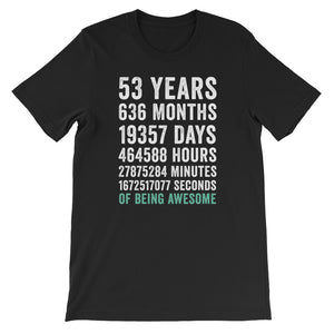 Birthday Gift T Shirt 53 Years Old Being Awesome