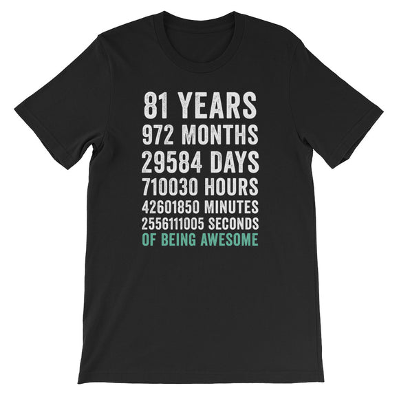 Birthday Gift T Shirt 81 Years Old Being Awesome