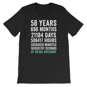Birthday Gift T Shirt 58 Years Old Being Awesome
