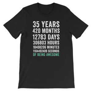 Birthday Gift T Shirt 35 Years Old Being Awesome
