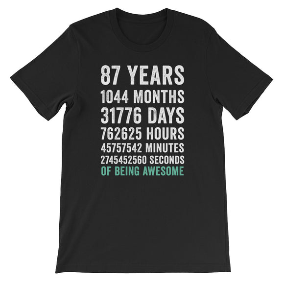 Birthday Gift T Shirt 87 Years Old Being Awesome
