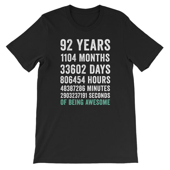Birthday Gift T Shirt 92 Years Old Being Awesome
