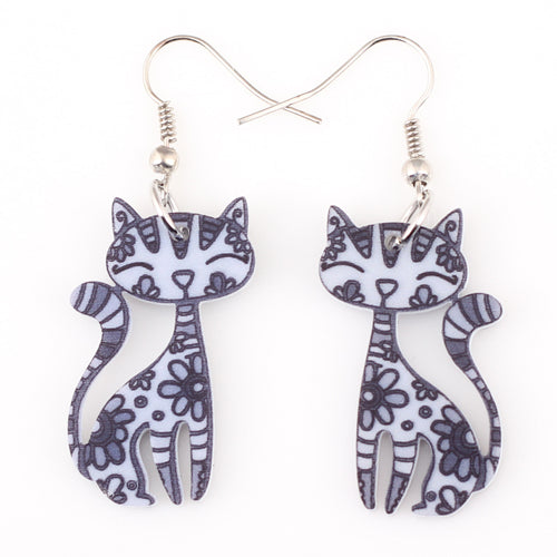 Sweet Dangle Sitting CAT Earrings Acrylic Long Drop For Girls Women Pattern Jewelry