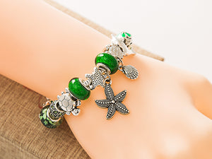 Green Beads Starfish / Sea Turtle / Dolphin bracelet