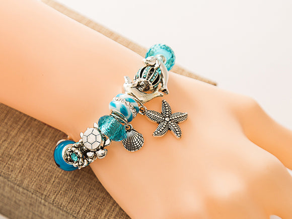 Blue Beads Starfish / Sea Turtle / Dolphin bracelet