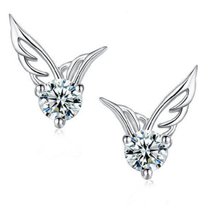 Silver Crystal Angel Wings Tiny Earrings Cute Allergy Free Ear Studs Ear Clip Pin Christmas Gift