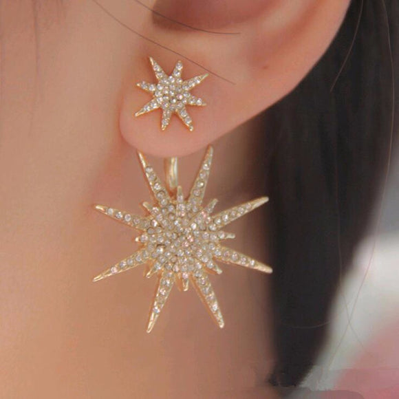 Sparkling Crystal Star Earring Stud, Shiny Bling Big Golden Star with Rhinestone Inlaid Dangle, Stylish Brilliant Big Star Ear Ring Dazzling Ear Stud