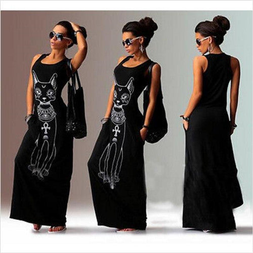 Women's Cat Print Tank Top Dress Boho Long Maxi Sleeveless Vest Dress