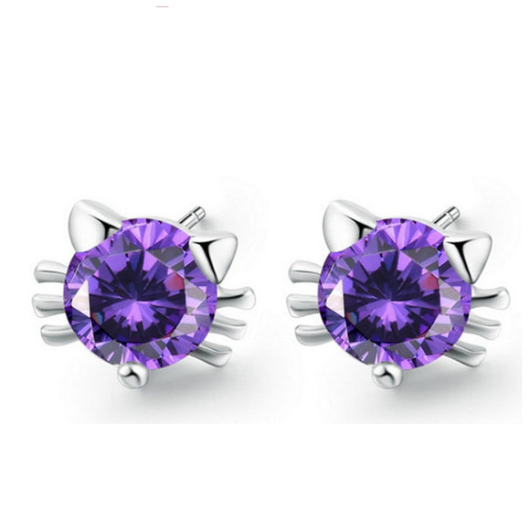 White Gold Plated Fashion Cut Cat White Purple Crystal Cute AAA+ CZ Diamond Stud Earring Wedding Earrings for Women YK9003