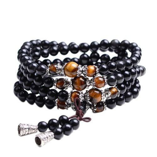 Tiger Eye Crystal Gemstone Bracelet Tibet Buddhist Buddha Meditation 108 Prayer Bead Mala Bracelet/Necklace