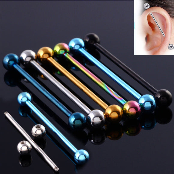 Industrial Barbell Cartilage Earring Body Piercing Jewelry 1 3/8 Inch(35mm)