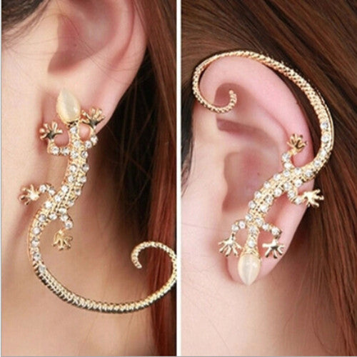 Gecko Lizard Gothic Punk Rock Ear Wrap Cuff  Gold Earring