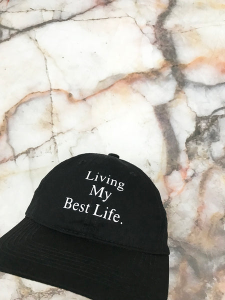 Living My Best Life Black Strapback Cap