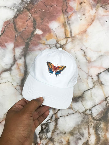 Butteryfly White Strapback Cap
