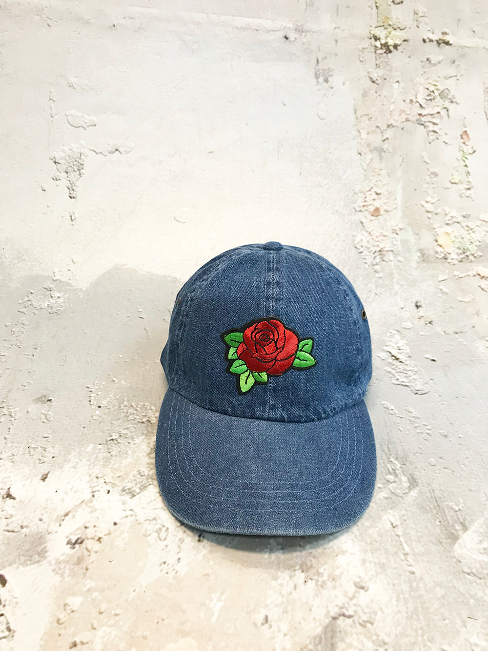 Rose Embroidered Denim Strapback Cap