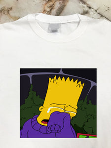 Bart Crying White T Shirt