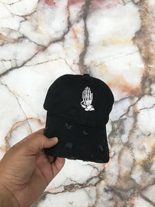 Bones Praying Hands Black Strapback Cap