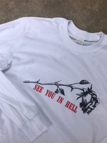 See You In Hell White Long Sleeve