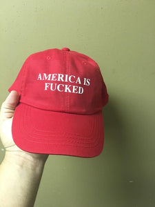 America Is Fucked Red Strapback Cap