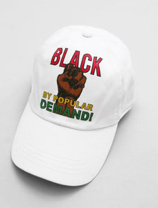 Black By Popular Demand White Strapback Cap