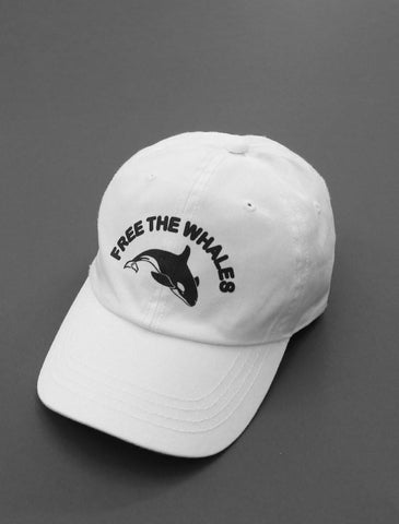 Free The Whales White Strapback Cap
