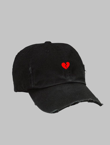 Heartbreak Distressed Black Strapback Cap