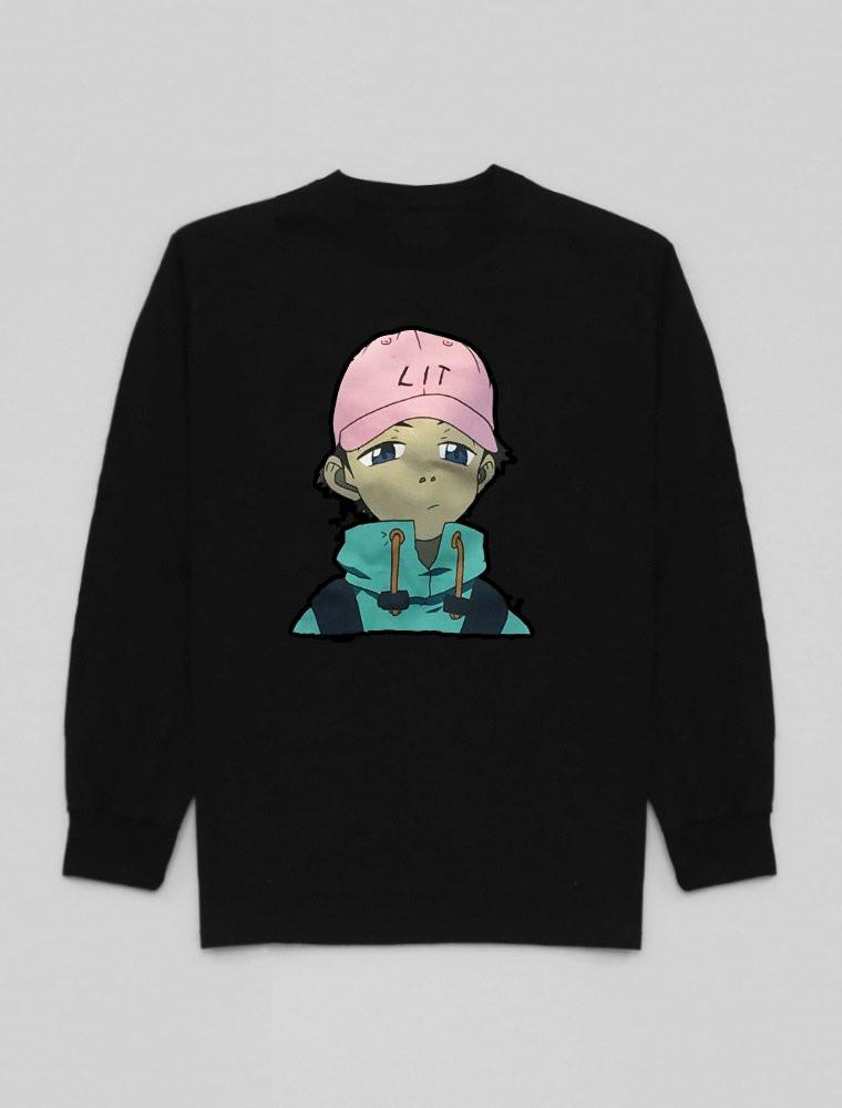 Lit Black Anime Long Sleeve Tee