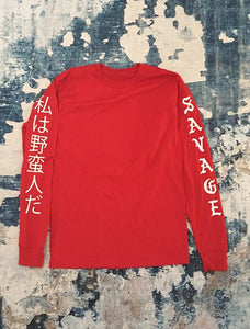 Long Sleeve - Savage Kanji Red Long Sleeve