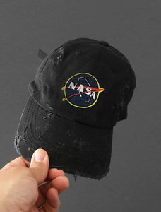 Nasa Black Strapback Cap