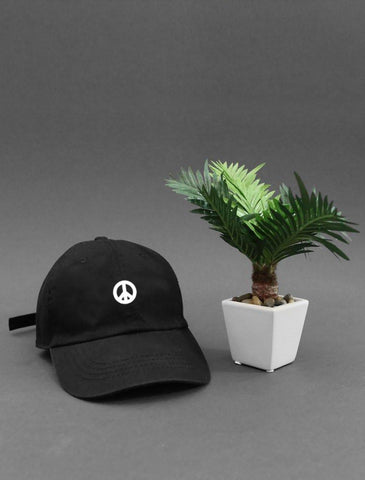 Peace Black Strapback Cap