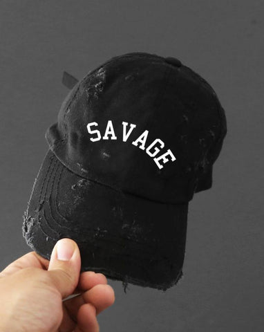 Savage Distressed Black Strapback Cap