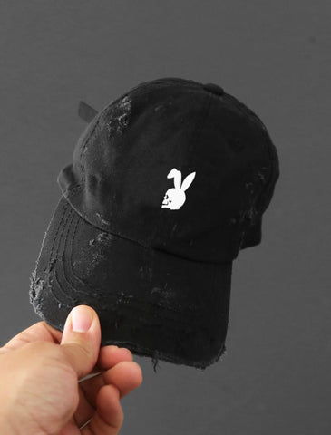 Skull Rabbit Distressed Black Strapback Cap